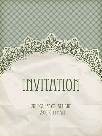temlate: vector retro  invitation temlate with  lacy napkin eps 10, gradient mesh Illustration