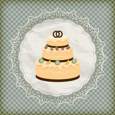 boda pastel: vector de invitaci�n de la boda retro con la torta de boda a lo grande en la servilleta de encaje
