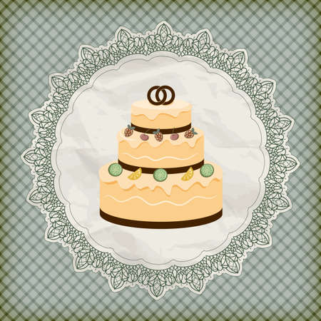 wedding cake illustration: vector retro wedding invitation with big wedding cake on lacy napkin