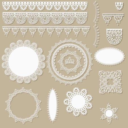 vecteur de dentelle éléments de conception d'album, peut être utilisé comme serviettes, bordures, rubans et autres décorations Vecteurs