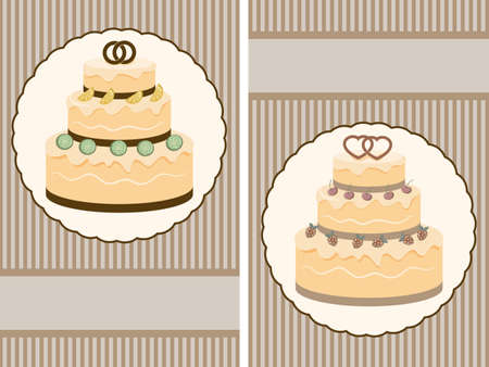 vector retro wedding invitation with big wedding cake  Vector