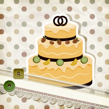invitacion boda vintage: vector de invitaci�n de la boda de la vendimia con pastel de bodas y retro de fondo, eps 10, gradiente de malla Vectores