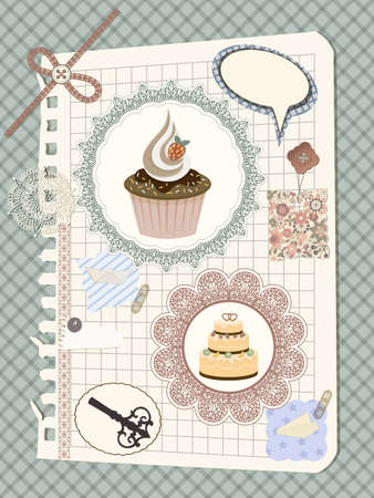 vector scrapbook with nakin and cakes, toys, and other design elements, elements can be used separately, eps 10 transparency effects Vector