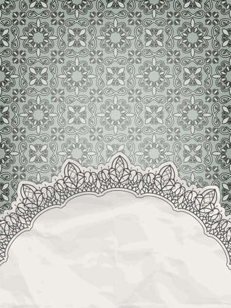 lacy frame for your text on seamless retro floral pattern, gradient mesh Vector