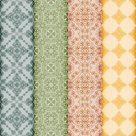 retro bookmarks with seamless floral patterns,gradients mesh Vector