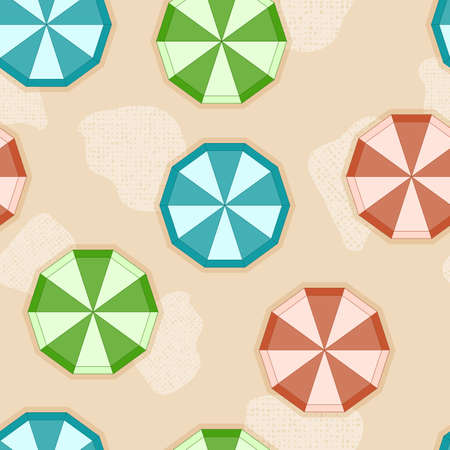 seamless background with sun umbrellas on sandy beach Vector