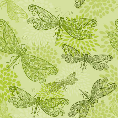 dragonfly wings: seamless pattern with flying green dragonflies and flowers