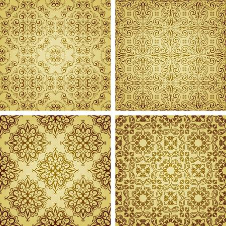 seamless golden patterns, oriental style, can be used as patterns, wrapping paper Vector