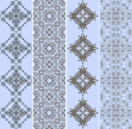 retro bookmarks with seamless floral patterns, can be used as backgrounds or patterns Vector