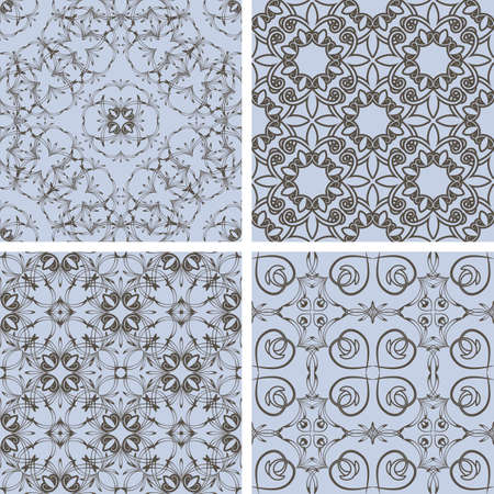 seamless floral patterns in blue and brown, oriental style, can be used as backgrounds, patterns, wrapping paper Vector