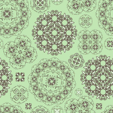 seamless floral pattern in green  and brown,  can be used as backgrounds, patterns, wrapping paper Illustration