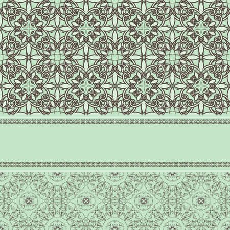 vintage pattern with frame for your text, 2 seamless patterns and seamless border Vector