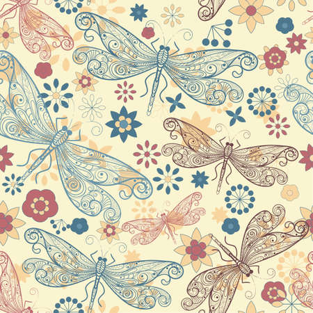 dragonfly wing: seamless pattern with flying  dragonflies and flowers