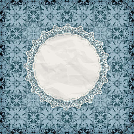 bookmark background: retro lacy napkin on seamless blue pattern, gradient mesh