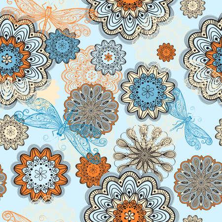 nahtlose abstraktes Muster mit Doodle Blumen und Libellen fliegen