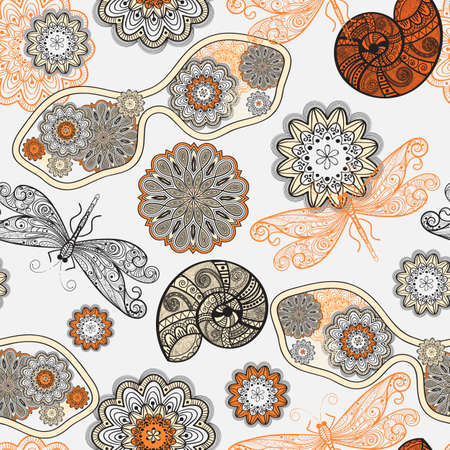 seamless pattern with sunglasses, flowers, shells, and dragonflies Stock Vector - 14235712
