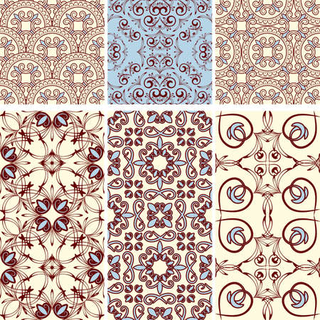 six seamless  patterns in  oriental style, can be used as background, wrapping paper or wallpaper Vector