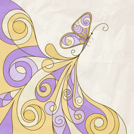 butterfly and abstract pattern, crumpled paper texture Vector