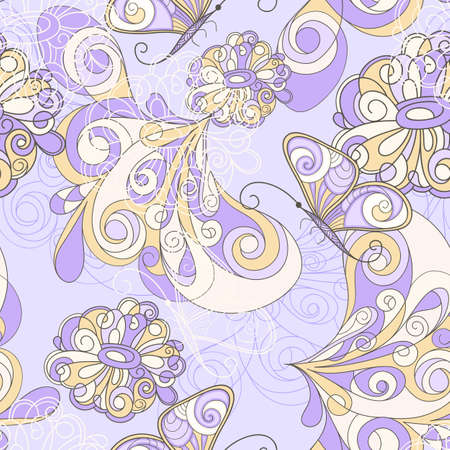 seamless pattern with butterflies and flowers, can be used as pattern, background, or wrapping paper Vector