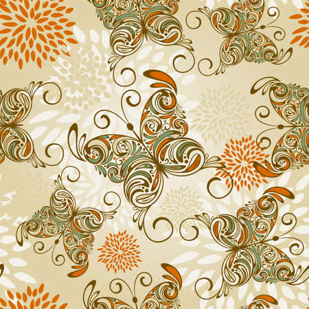 seamless pattern with   hand drawn butterflies and abstract flowers Vector