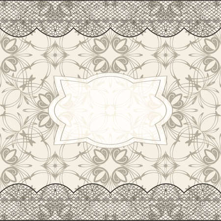 background with seamless pattern, lacy border Vector