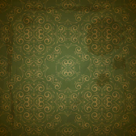 seamless floral golden pattern on green grungy background with crumpled paper texture Vector