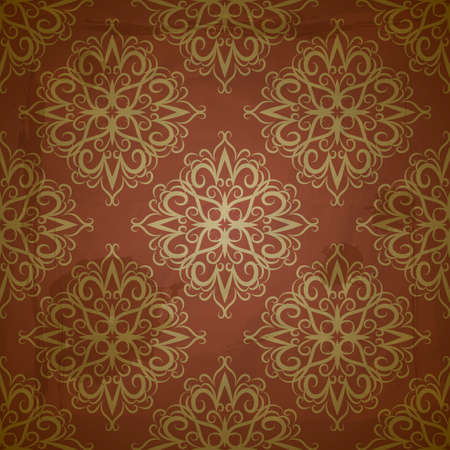 seamless floral golden pattern on red grungy background with crumpled paper texture Vector
