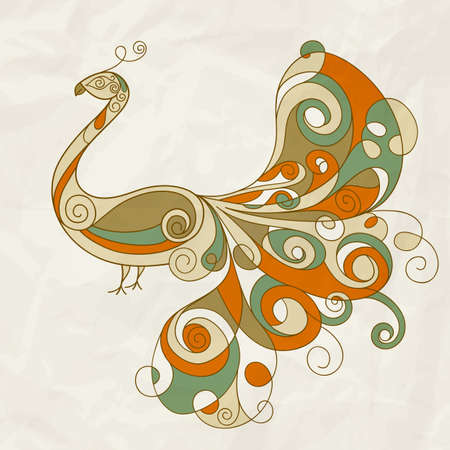 tail feathers: stylized peacock with detailed feathers on crumpled paper texture Illustration