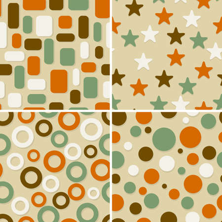 four retro abstract seamless patterns, can be used as pattern, backgrounds, christmas wrapping paper Vector