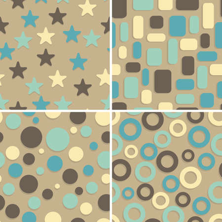 four retro abstract vector seamless patterns, can be used as pattern, backgrounds, christmas wrapping paper Vector