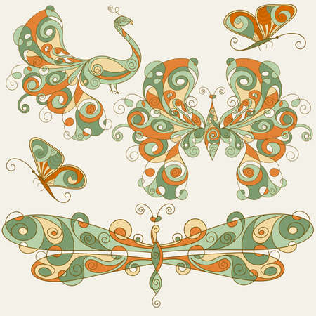 vector stylized dragonfly, butterflies, and peacock, can be used separately Vector