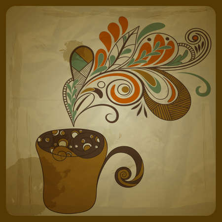 coffee cup vector: vector retro concept composition with stylized cup of coffee on crumpled paper texture, eps 10, mesh Illustration