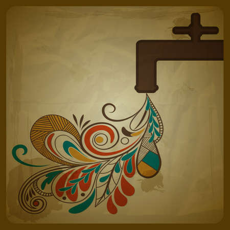 vector eco concept composition with a water tap and floral pattern flowing from it and symbolizing pure water crumpled paper with grungy splashes and blots, eps 10 Vector