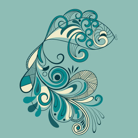 vector fish with flaral pattern detailed tail Vector