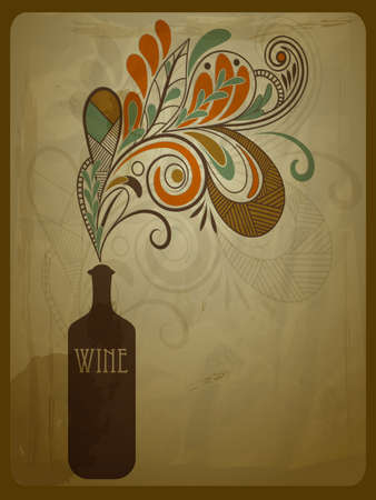 retro bottle: vector retro concept composition with stylized bottle of wine on grungy crumpled paper texture, eps 10