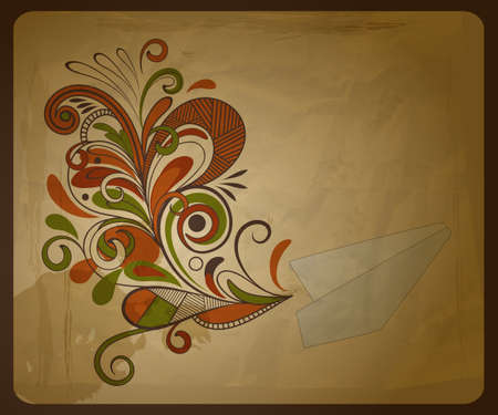 polution: eco  concept composition with a paper plane and  and floral pattern on crumpled paper texture Illustration
