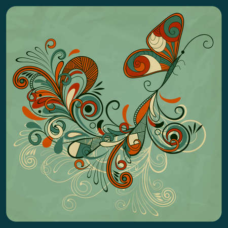 retro vintage: concept butterfly and abstract branch on crumpled paper texture Illustration