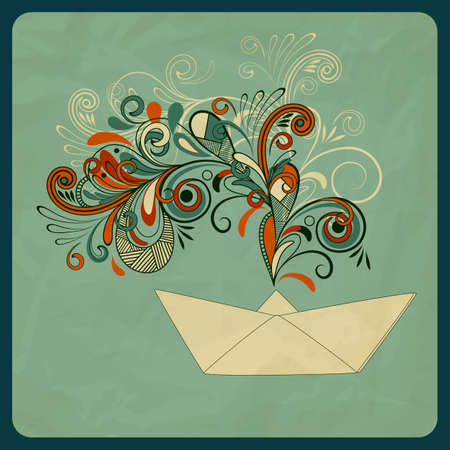 eco concept with a ship and floral pattern instead of smoke, crumpled paper texture Vector