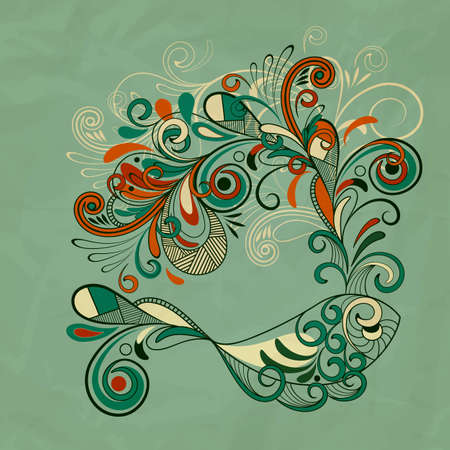 whale with floral fountain on crumpled paper texture Vector