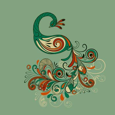 pluma de pavo real: pavo real, estilizada con la cola detallada