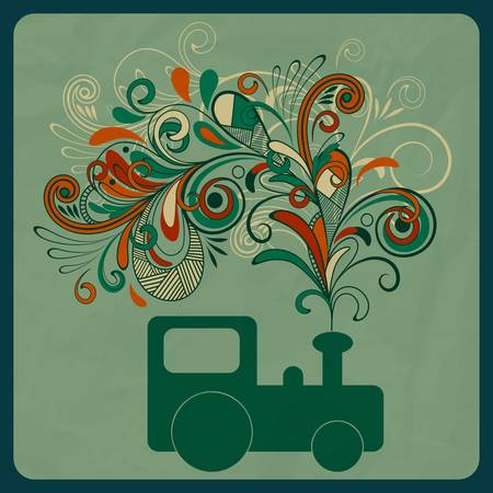 eco concept with asteam train and floral pattern instead of smoke Vector