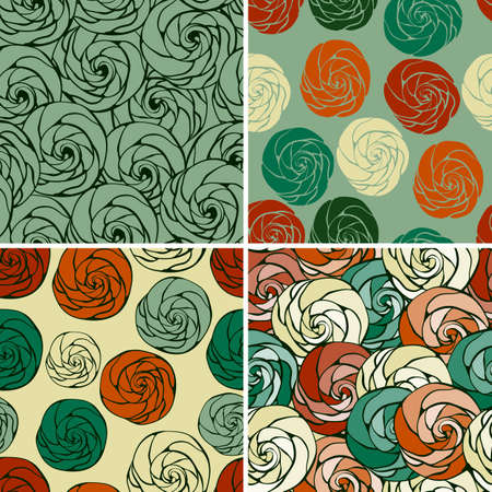 set of  seamless patterns with abstract roses Vector