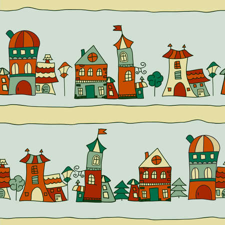 seamless pattern with town streets and small houses, trees, and lanterns Vector