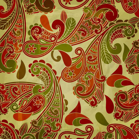 vector seamless paisley  pattern with grungy blots and crumpled paper texture Çizim