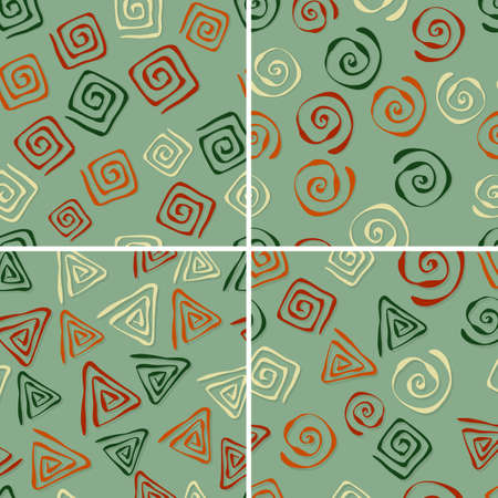 vector seamless patterns with funky abstract  figures Vector
