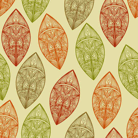 vector seamless  pattern autumn highly detailed leaves Vector
