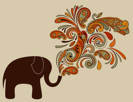 vector elephant with floral pattern coming from his trunk Vector