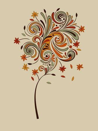 otoño vector altamente detallado árbol con las hojas que caen