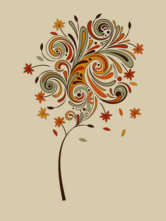 vector highly detailed autumn tree with falling leaves Vector