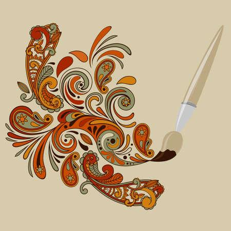 disegni cachemire: Vector cartoon concetto pennello pittura turbinii floreali ed elementi paisley Vettoriali